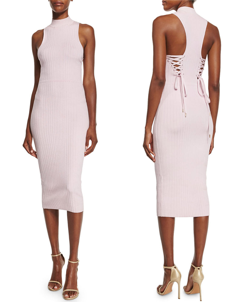 Cushnie et Ochs sleeveless turtlenek dress with lace-up detail