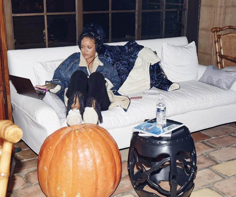 Rihanna 3x1 black fringe jeans WM3, Ports 1961 Bee knotted white bow sneakers