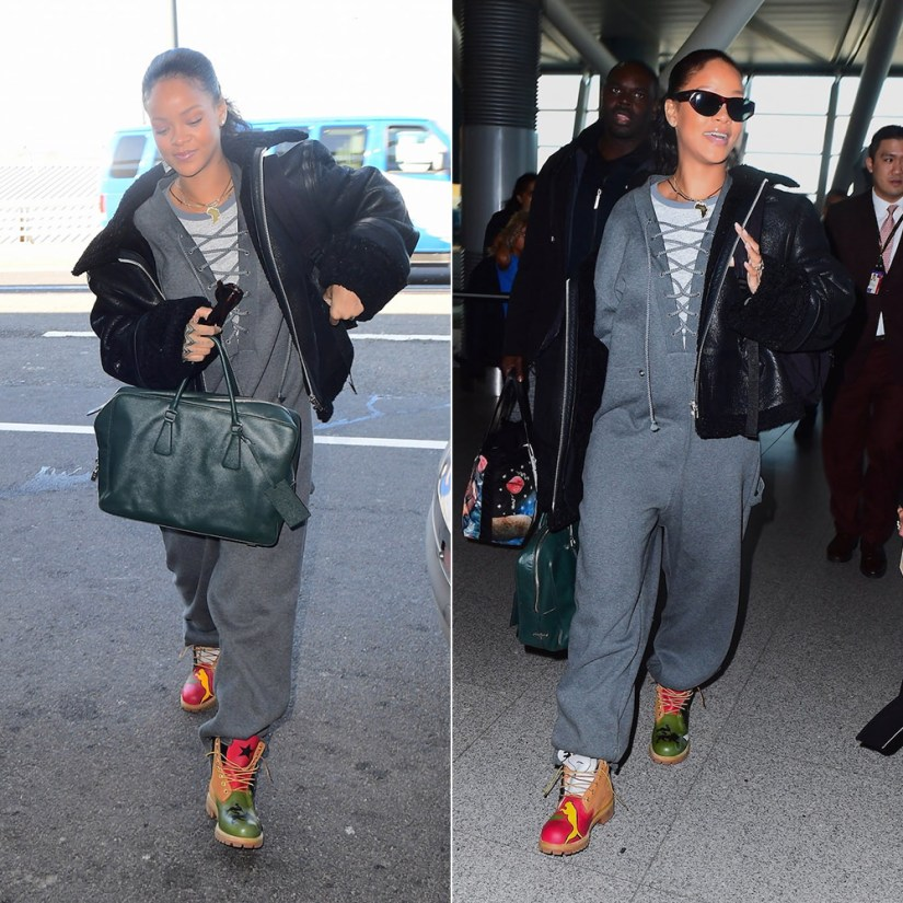 Rihanna custom Timberland boots painted Donnell McFadden Brooks, Fenty x Puma lacing fleece jumpsuit, Prada Saffiano briefcase, Ray-Ban caballero sunglasses, Vetements black leather shearling jacket