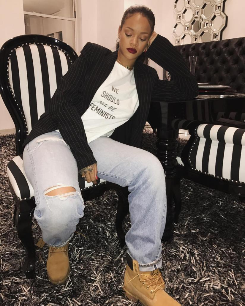 Rihanna Dior feminists tee charity, Timberland nubuck suede boots