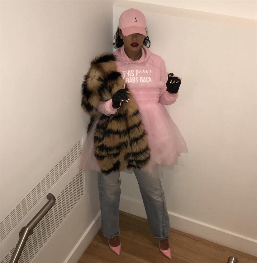 Rihanna LAPP grabs back hoodie pink this p***y grabs back, Majesty Black Sarah nail gloves,HLZBLZ pink middle finger cap, Molly Goddard pink Jamie tulle dress