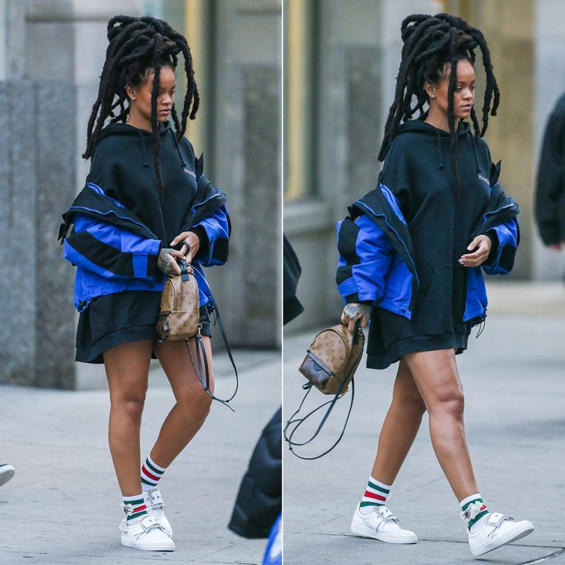 Rihanna Maison Margiela buckle sneakers embellished, Gucci bow tassel socks, Balenciaga blue shell parka, Vetements black definition hoodie, Louis Vuitton Palm Springs Mini backpack
