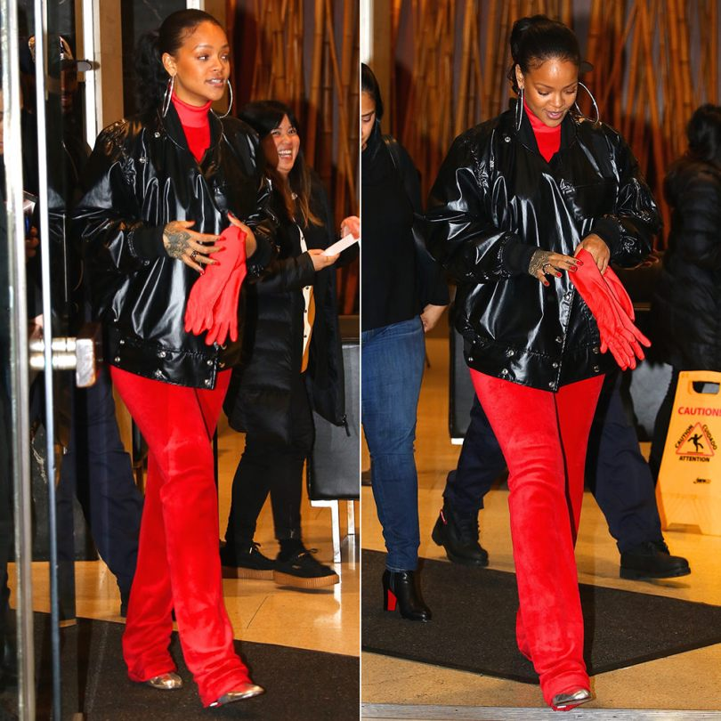 Rihanna Vetements Juicy Couture red velour top and track pants, Vetements silver ankle boots with lighter-shaped heel