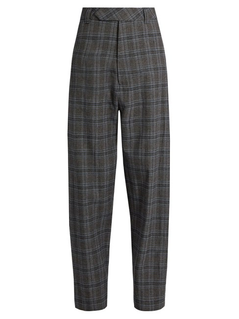 Vetements Prince of Wales check wide leg trousers as seen on Rihanna