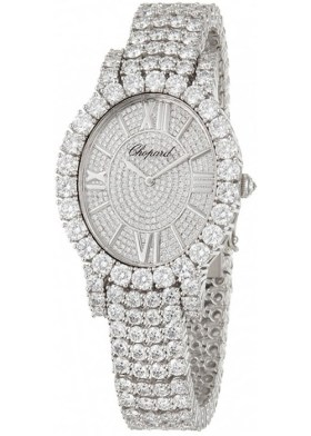 Chopard diamond and white gold L'Heure du Diamant oval watch as seen on Rihanna
