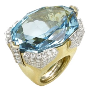 David Webb aquamarine, diamond, gold and platinum ring as seen on Rihanna