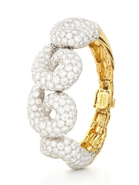 David Webb brilliant-cut diamond, 18 yellow gold and platinum curly cuff as seen on Rihanna