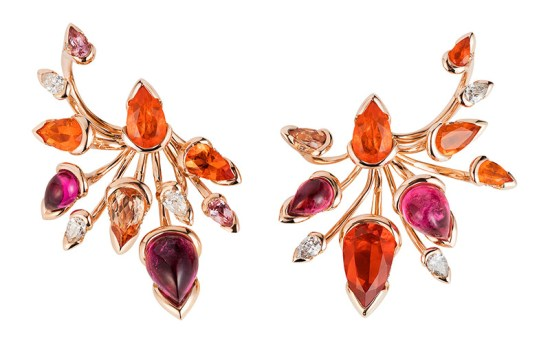 Fernando Jorge Bromelia rose gold, gemstone and diamond earrings as seen on Rihanna