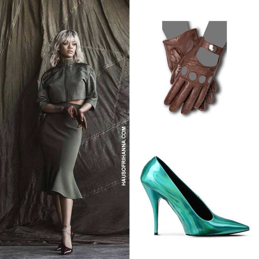 Rihanna Harper's Bazaar magazine March 2017 Salvatore Ferragamo Spring 2017 top and skirt, Stella McCartney pointed pumps, Gaspar driving gloves