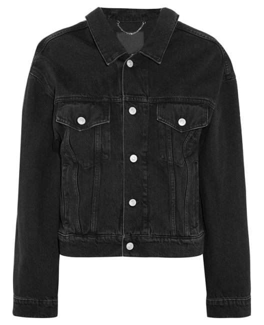 Balenciaga black denim jacket as seen on Rihanna