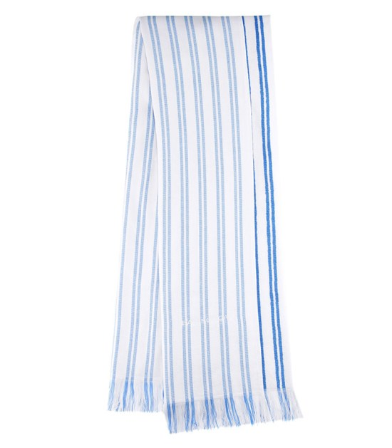 Balenciag striped coton scarf as seen on Rihanna