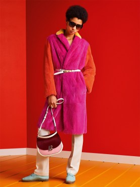 Bally Spring 2017 pink and orange fur coat as seen on Rihanna