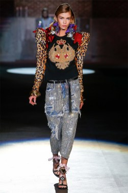 Dsquared2 Spring 2017 crystal-embellished distressed jeans as seen on Rihanna