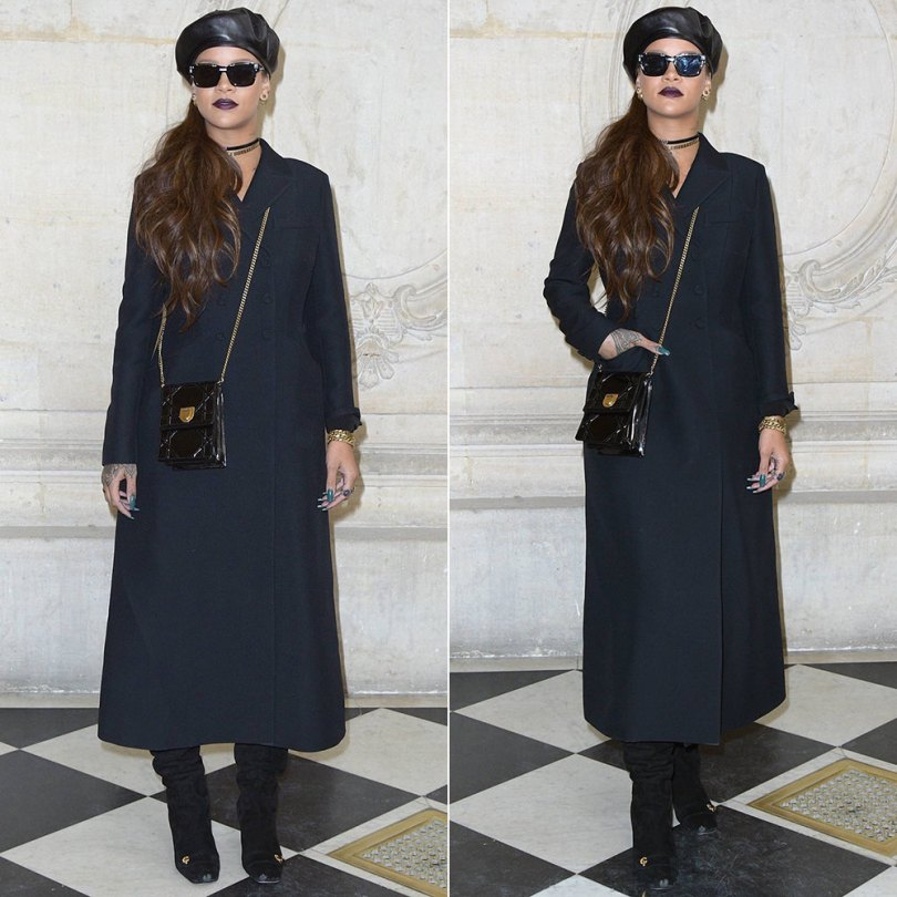 Rihanna Dior fall 2017 runway show wool coat, beret, suede thigh-high boots, J'adior sunglasses and earrings, Diorevolution choker and bracelets