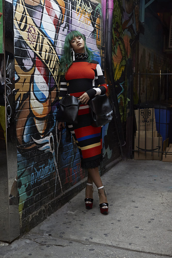 Rihanna Paper magazine march 2017 Proenza Schouler striped dress and metal earrings, Christian Louboutin Tromploia platform sandals, Marni belt bag, Marques'Almeida oversize choker, Gentle Monster x Hood by Air Nunty-x sunglasses