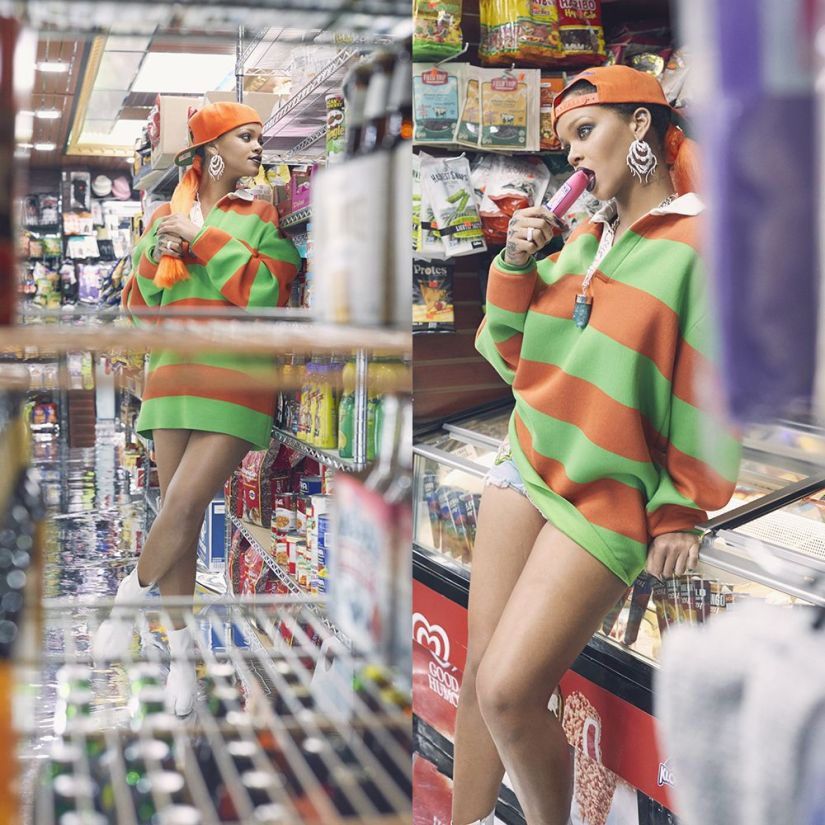 Rihanna Paper magazine march 2017 Marc Jacobs rugby sweatshirt, Margiela split toe ankle boots, Off-White denim shorts, Aether 79 crystal necklace