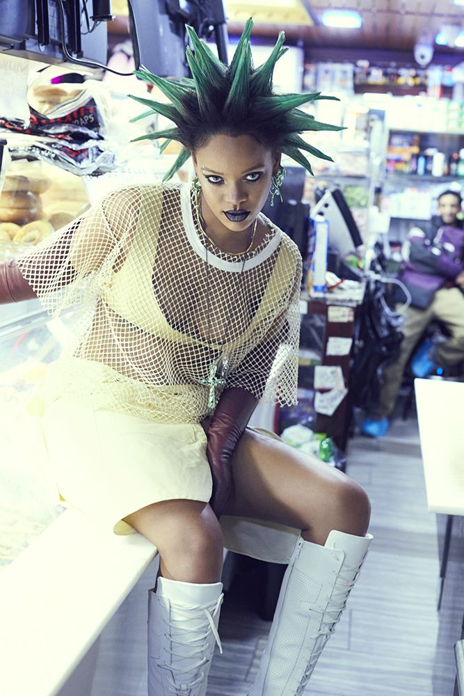 Rihanna Paper magazine march 2017 No 21 mesh t-shirt, & other stories bra, Marni skirt, Dior knee boots, My Enemy x Chris Habana earrings