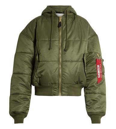 Vetements x Alpha Industries green quilted bomber jacket as seen on Rihanna