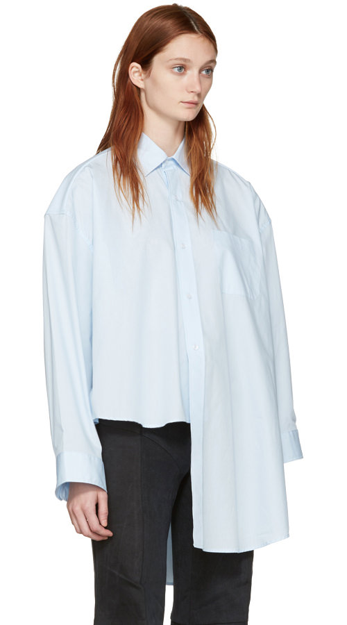 Vetements blue classic football shoulder shirt as seen on Rihanna