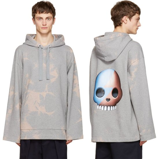 Acne Studios grey Florida skull tie-dye hoodie as seen on Rihanna