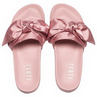 Fenty x Puma pink bow satin slides as seen on Rihanna