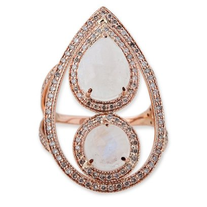 Jacquie Aiche moonstone teardrop frame ring as seen on Rihanna