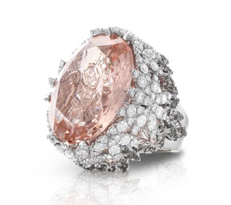 Pasquale Bruni morganite and white diamond ring as seen on Rihanna