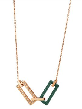 Rihanna Loves Chopard rose gold, green ceramic and diamond necklace