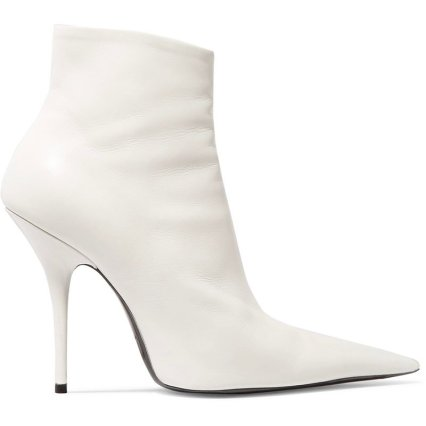 Balenciaga white leather pointed toe ankle boots as seen on Rihanna