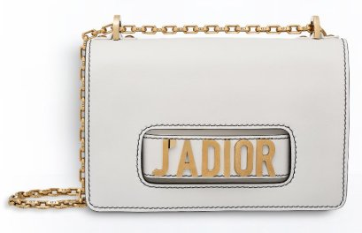 Dior J'adior white flap bag with chain handle as seen on Rihanna