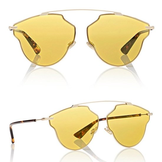 Dior So Real Pop sunglasses with yellow lenses as seen on Rihanna
