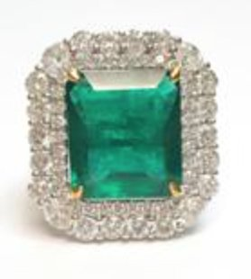 Dvani cushion cut emerald ring as seen on Rihanna