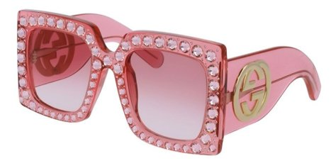 Gucci pink oversized crystal sunglasses as seen on Rihanna