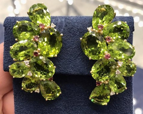 Jill Heller vintage peridot and ruby earrings as seen on Rihanna