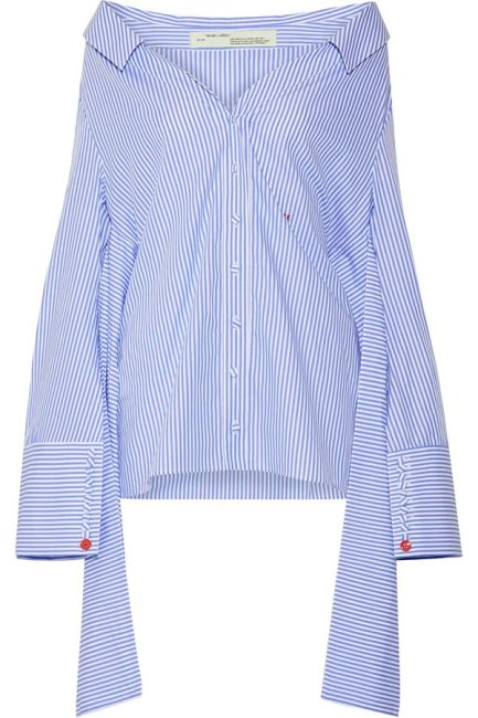 Off-White blue striped off-the-shoulder cotton shirt as seen on Rihanna
