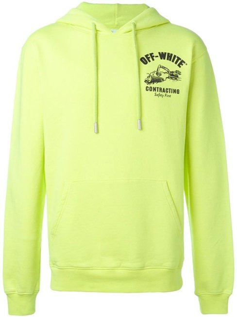 Off-White yellow logo print hoodie as seen on Rihanna