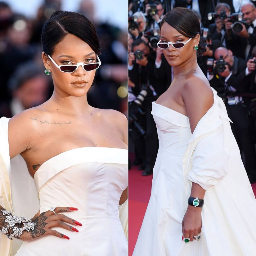 Rihanna Andy Wolf Ojala sunglasses, Chopard diamond and emerald jewelry, Dior custom gown and coat Cannes Film Festival
