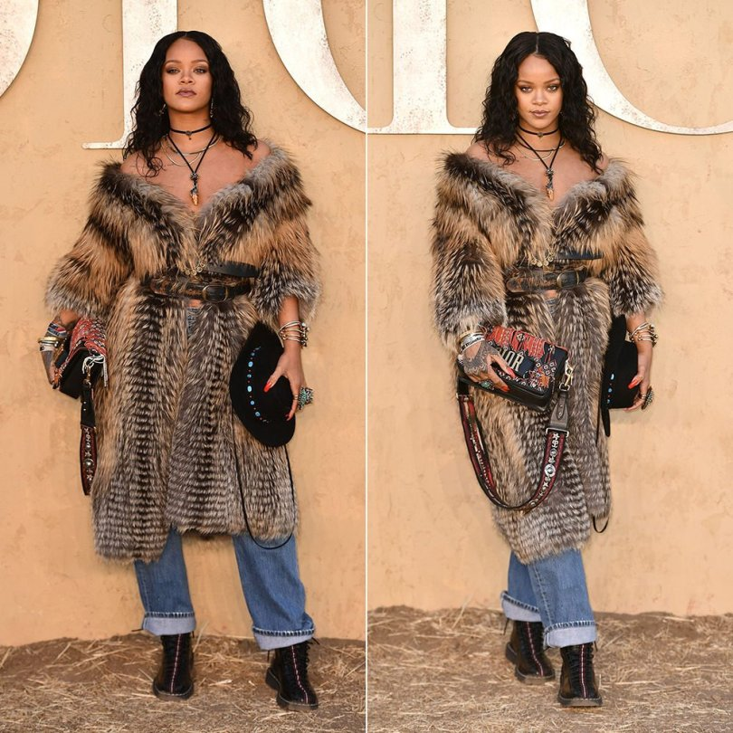 Rihanna Dior fur coat Cruise 2018 fashion show, vintage Levi's jeans from What Goes Around Comes Around, Dior Homme Spring 2017 lace-up boots, Lisa Eisner necklace, rings and bracelets