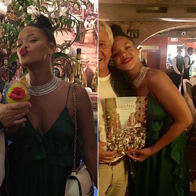 Rihanna Rochas green ruffled maxi dress, Dior J'adior white flap handbag