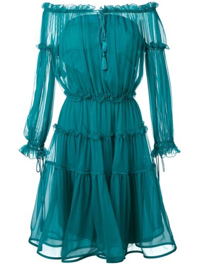 Alberta Ferretti turquoise off-the-shoulder sheer dress as seen on Rihanna DJ Khaled Wild Thoughts music video