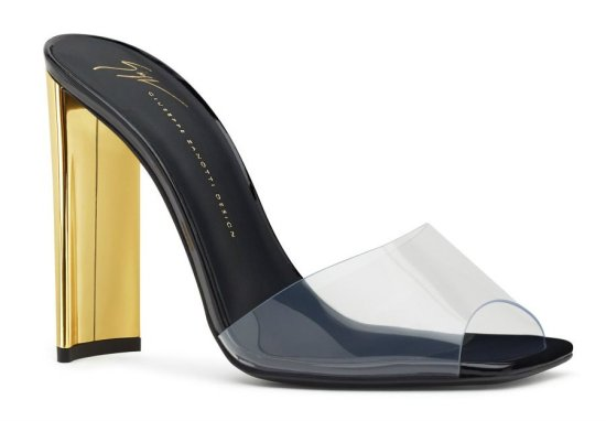 Giuseppe Zanotti Sabrina clear PVC mules with gold heel as seen on Rihanna