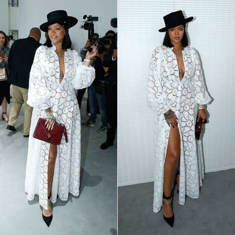 Rihanna LVMH Prize Dior Resort 2018 white broderie anglaise dress, black hat