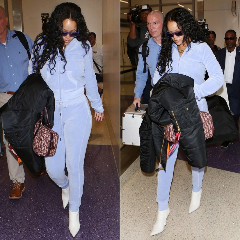 Rihanna Fenty Puma velour track suit, Balenciaga white ankle boots, Vetements x Alpha Industries black bomber jacket, Dior handbag