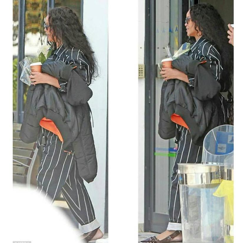 Rihanna Celine striped shirt and pants, Adam Selman Last Lolita cat-eye sunglasses, Dior leather ribbon sandals