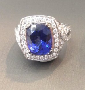 Le Vian sapphire and diamond ring as seen on Rihanna