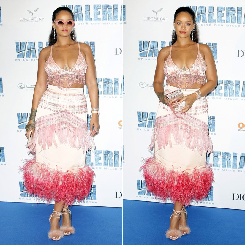 Rihanna Valerian Paris Premiere Prada Fall 2017 beaded top and feather skirt, Charlotte Olympia feather Salsa sandals, Christian Louboutin crystal clutch, Cutler and Gross 1053 pearl pink sunglasses, Chopard earrings, XIV Karats anklet