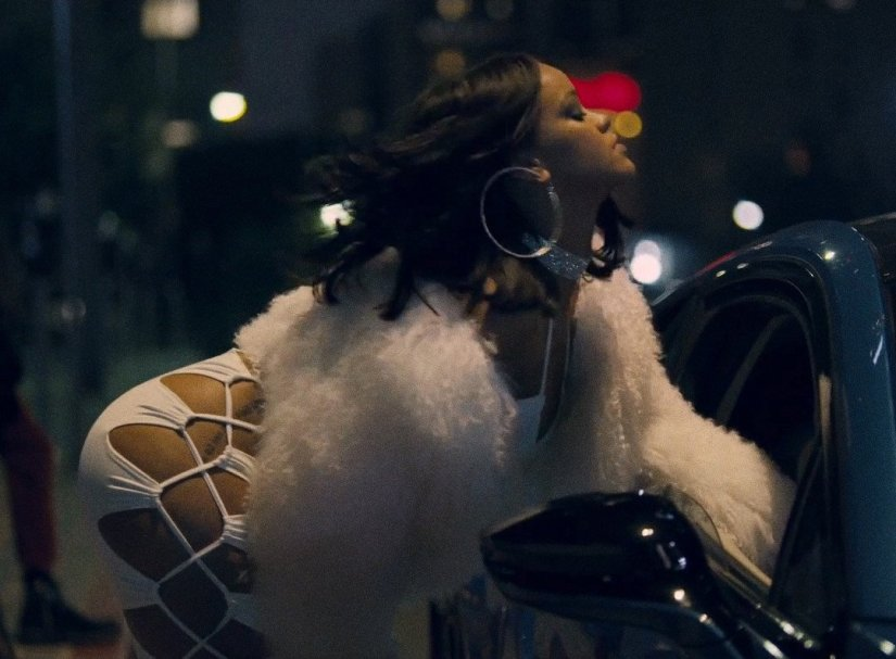 Rihanna Loyalty music video House of CB Rydia white dress, Adrienne Landau mongolian fur jacket, Djula diamond choker