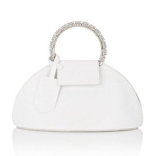 Calvin Klein white dome clutch with crystal-embellished handle as seen on Rihanna