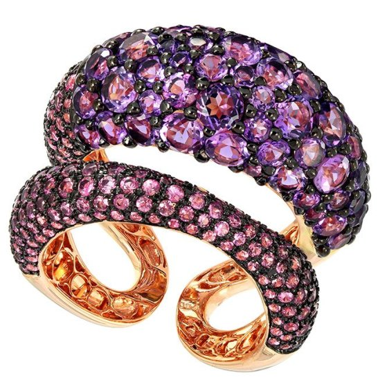 Etho Maria pink sapphire and amethyst ring as seen on Rihanna