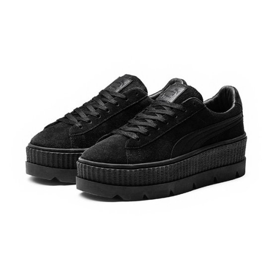 Fenty x Puma black suede cleated creepers as seen on Rihanna